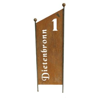 Schild Hausnummer und Straßenname
