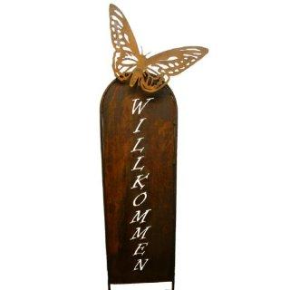Schild Willkommen mit Schmetterling
