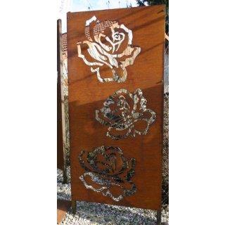 Sichtschutz Edelrost Rosenblütten