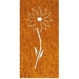 Sichtschutz Edelrost Blume mit Stiel
