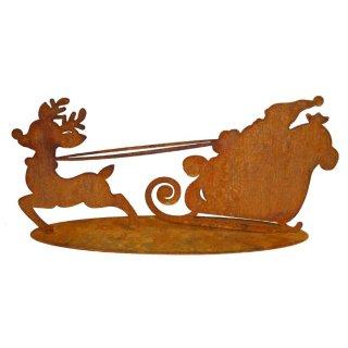 Rudolf und Santa mit Schlitten