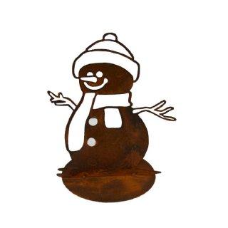 Schneemann auf Platte Edelrost