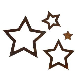 Sterne Set 4 Stück Edelrost