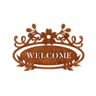 Schild Welcome zum hängen Edelrost