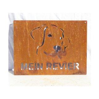 Schild Edelrost Hundekopf Mein Revier
