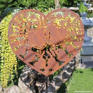 Dekoratives Herz Gartenstecker Edelrost
