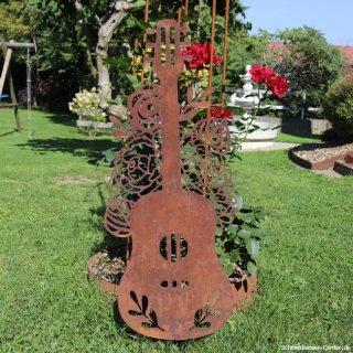 Gitarre mit Blumen Edelrost
