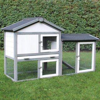 Kaninchenstall, Hasenstall, Hasenvilla, Kleintierstall Klopfer grau/weiß