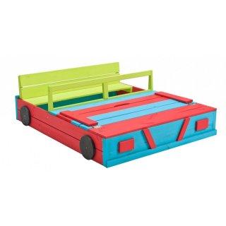 Sandkasten Auto 120x100x20cm FSC-imprägniert mehrfarbig