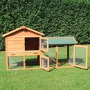 Kaninchenstall, Hasenstall, Hasenvilla, Kleintierstall Hasenhaus Klopfer - mit hochwertiger Kunststoffschublade