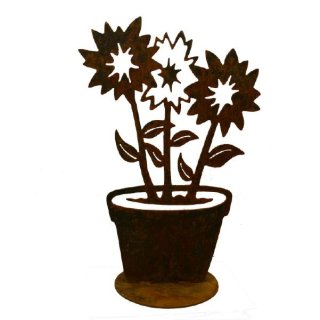 Edelrost Blumen im Topf