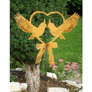 Herz mit 2 Vögel (Tauben) Wunschnamen und Datum