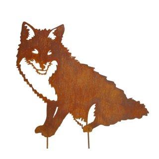 Fuchs sitzend Edelrost mit Stab