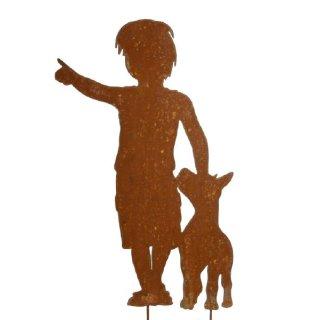 Junge mit Hund Edelrost