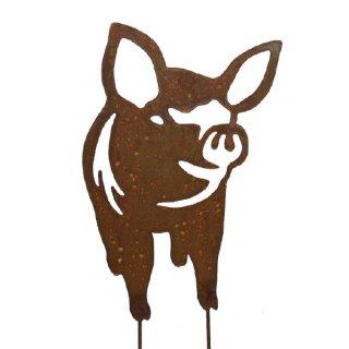 Schwein Edelrost mit Stab