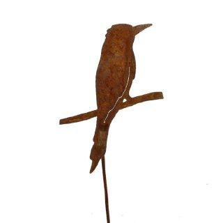 Vogel auf Ast Edelrost mit Stab